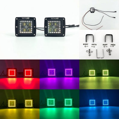 "3"" 5D 40W RGB halo LED Pods/ Cubes with Bluetooth App remote Control"