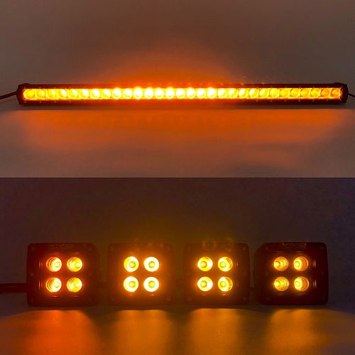 Package of 1 Single Row 4D Lens Dual Color Light Bar & 4 Pack 3.2 Inch 20W LED Pods-Vivid Light Bars