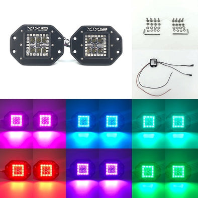 "3.2"" 30W Flush Mount RGB Halo Led Pods Cubes With Bluetooth Remote Control-RGB Halo Pods-Vivid Light Bars"