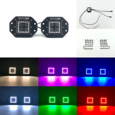 "3.2"" 20w Cree led flush mount pods halo With Bluetooth Remote Control-RGB Halo Pods-Vivid Light Bars"