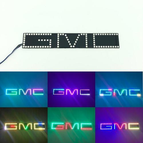 GMC Emblem RGB LED Logo Light Chase Flow Pattern with Bluetooth App remote control-halo headlight kits-Vivid Light Bars