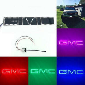 GMC Emblem RGB LED Logo Light with Bluetooth App remote control-halo headlight kits-Vivid Light Bars