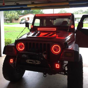 Jeep Wrangler / Hummer 1997-2016 RGB Halo Headlight Kits with Bluetooth Remote Control-Vivid Light Bars