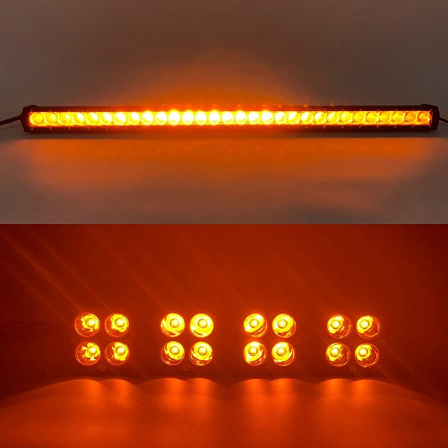 "Package of 1 Single Row 4D Lens Dual Color Light Bar & Mini 3"" Dual Color strobe LED work light pods-New Arrival-Vivid Light Bars"