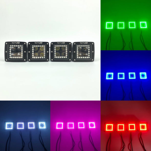 Package Deal of RGB LED Pods & RGB Rock Light Kits & RGB LED Whip Lights With Bluetooth App Remote Control-Vivid Light Bars