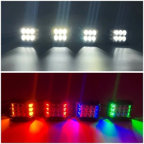"Package of 1 Single Row 4D Lens Dual Color Light Bar & 4/6/8 Pack 3.75"" 48W side shooter ditch LED Pods-Vivid Light Bars"