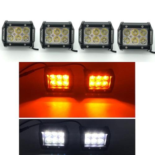 "Package of 2 Dual color light bars (Single-Row light bar+ Dual-Row Slide Bracket light bar) & 4 packs 4"" LED Pods-New Arrival-Vivid Light Bars"