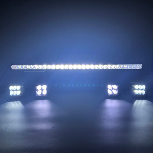 "Package of 1 Single Row Dual Color Light Bar & 2 Pack 3.75"" 48W side shooter ditch LED Pods + 2 Pack 3.2'' 20W LED Pods-Vivid Light Bars"