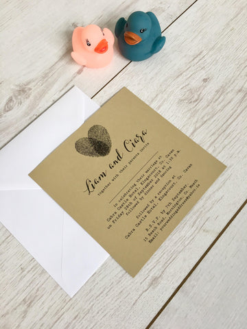 Free samples of our 'Fingerprint Heart on Gold' wedding invitations