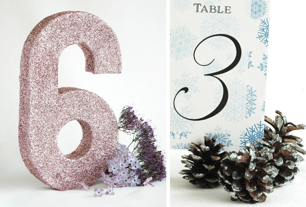 More examples of glitter and glue being used on wedding centrepieces