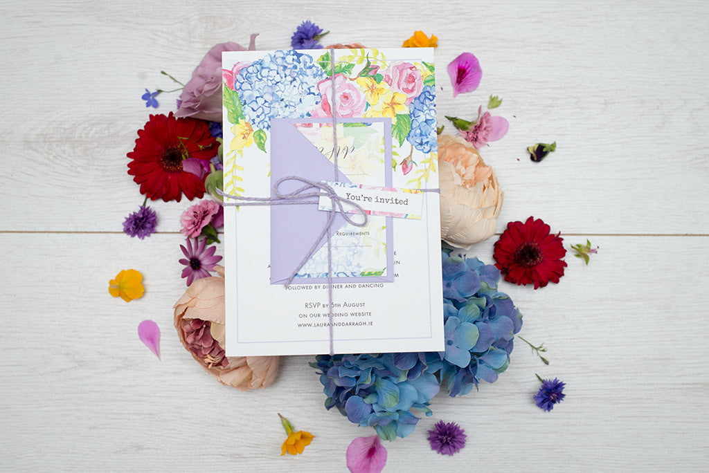 Wedding invitation - watercolour flowers design
