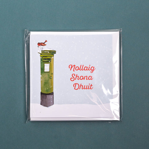 Pack of 6 Nollaig Shona Duit -  Irish Post Box Christmas Cards