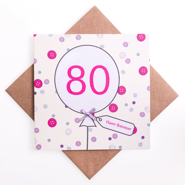 80th Birthday Button Balloon Card