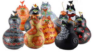 gourd art cat collection