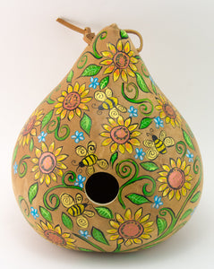 Sunflower and Bee Birdhouse - Gourdaments