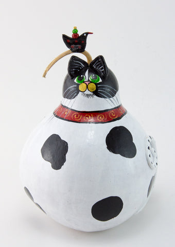 Cat Figurine - Gourd - Cow Cat - Funny Cat - Tuxedo Cat - Cattitude -Original Artwork -Whimsical Cat Art- Funny Gift - Gift for Cat Lover - Gourdaments