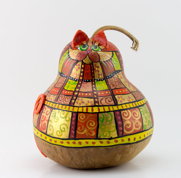 Orange Patchwork Cat Gourd Art - Handmade by Devon Cameron