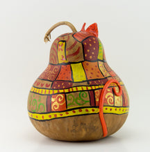 Load image into Gallery viewer, Orange Patchwork Cat Gourd Art - Handmade by Devon Cameron - Gourdaments