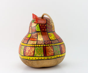 Orange Patchwork Cat Gourd Art - Handmade by Devon Cameron - Gourdaments