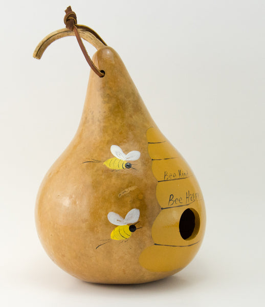 Bee Birdhouse Painted Gourd Birdhouse - Gourdaments