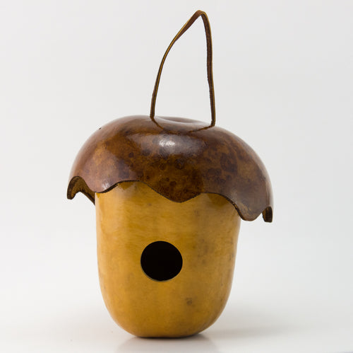 Acorn Gourd Birdhouse, Cottage Birdhouse, Whimsy for your garden - Gourdaments