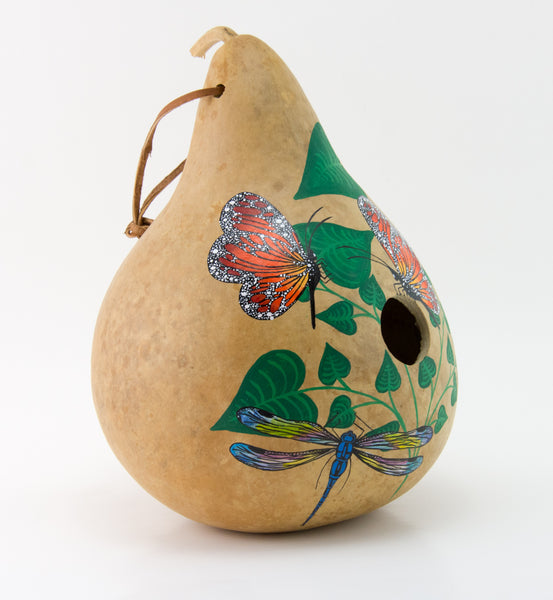 Butterfly Birdhouse - Dragonfly - Ladybug - Decoractive Gourd Art - Painted Gourd - Natural Home Decor - Gourdaments