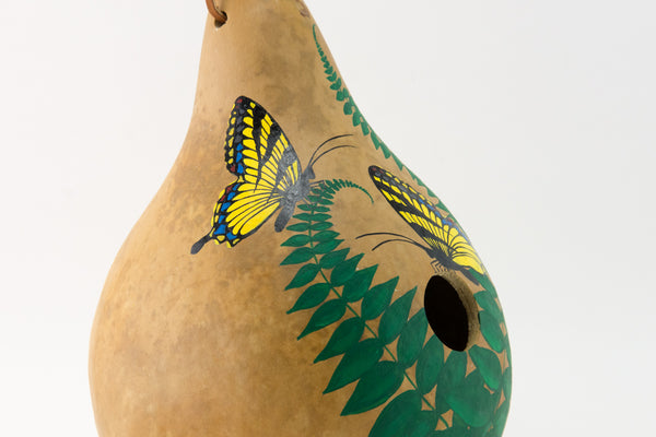 Birdhouse Gourd - Butterfly Decor - Garden Gift - Bird lover gift - Swallowtail Butterfly- Handmade - Outdoor Decorations - Painted Gourd - Gourdaments