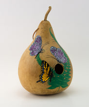 Load image into Gallery viewer, Copy of Birdhouse Gourd - Butterfly Decor - Garden Gift - Bird lover gift - Swallowtail Butterfly- Handmade - Outdoor Decorations - Painted Gourd - Gourdaments