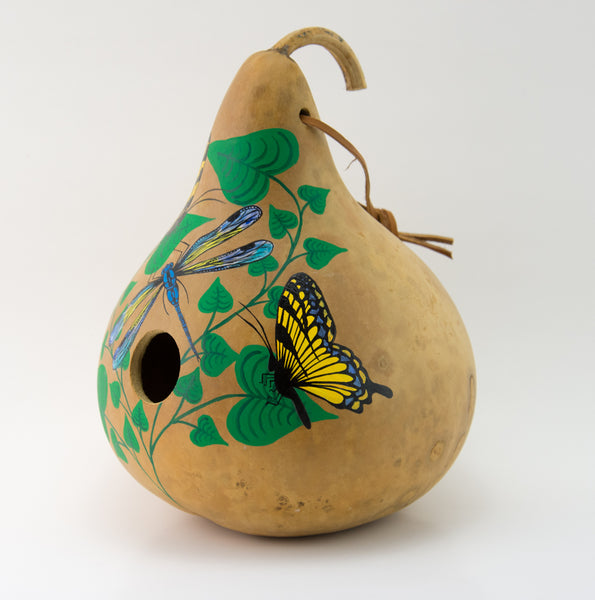 Copy of Copy of Birdhouse Gourd - Butterfly Decor - Garden Gift - Bird lover gift - Swallowtail Butterfly- Handmade - Outdoor Decorations - Painted Gourd - Gourdaments
