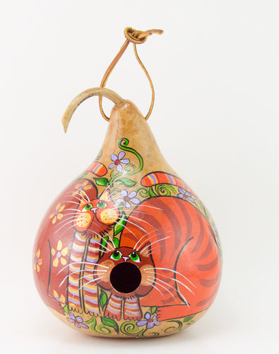 Painted Gourd Birdhouse - Folk Art Cat Design - Gourdaments