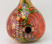 Load image into Gallery viewer, Painted Gourd Birdhouse - Folk Art Cat Design - Gourdaments