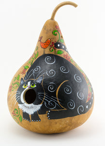 Birdhouse with Silly Cat Mouth Open Gourd Art for Garden - Gourdaments