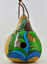 Load image into Gallery viewer, Folk Art Lighthouse farm  Gourd Birdhouse, Handpainted , garden lover, bird enthusiast,  gourd collector - Gourdaments