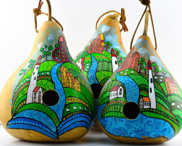 Folk Art Lighthouse farm  Gourd Birdhouse, Handpainted , garden lover, bird enthusiast,  gourd collector - Gourdaments