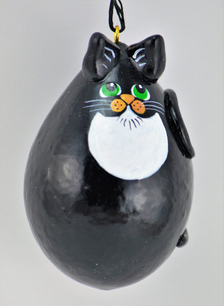 Tuxedo Cat, Egg gourd ornament, Gourdament, Black and white cat, hanging cat, Christmas Ornaments Handmade, Holiday ornaments - Gourdaments