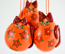 Load image into Gallery viewer, Cat Ornament - Kitty Ornament - Kitten Ornament - Calico Cat Ornament - Orange Floral Cat - Gourd Art - Gourd Ornament - Christmas Ornament - Gourdaments
