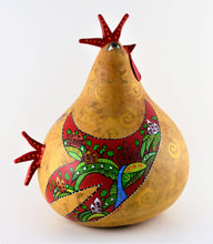 Load image into Gallery viewer, Folk Art Rooster, Gourd Art, OOAK, Natural Decor, Perfect Gift,  Country Folk Art, Kitchen Rooster, Chicken Art - Gourdaments