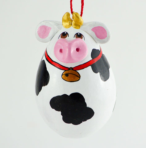 Cow Ornament, Gourd Art, Cow Decor, Holstein Cow, Novelty gift item, Cow Gifts, Painted Gourd, Spotted cow, Gourdament, Egg Gourd,  Cow Bell