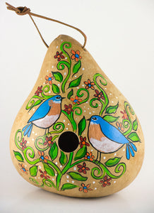 Birdhouse, Gourd Birdhouse,  Bluebird Design, For your Garden, Birdlover Gift, Floral pattern, Hand painted, Original Design - Gourdaments