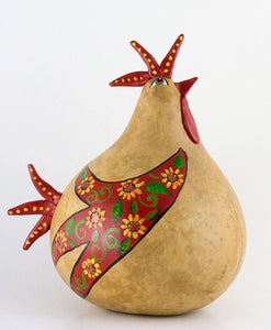 Kitchen Rooster,  Painted Gourd, Folk Art, Natural Home, Rooster Art, Hand Sculpted, OOAK, Floral Design, Back to Nature