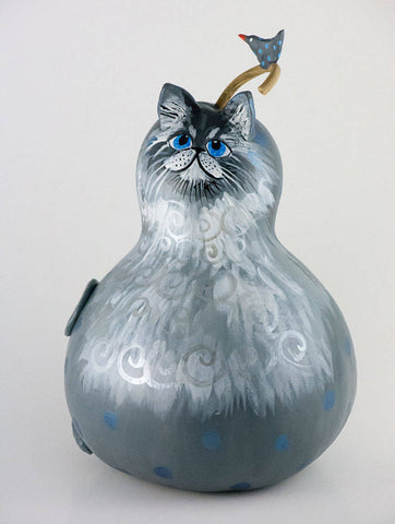 Grey cat, Blue Eyes, Gourd Art, Silver highlights, Charming Smile, Original Cat Artwork, OOAK,  Cat Lover Gift - Gourdaments