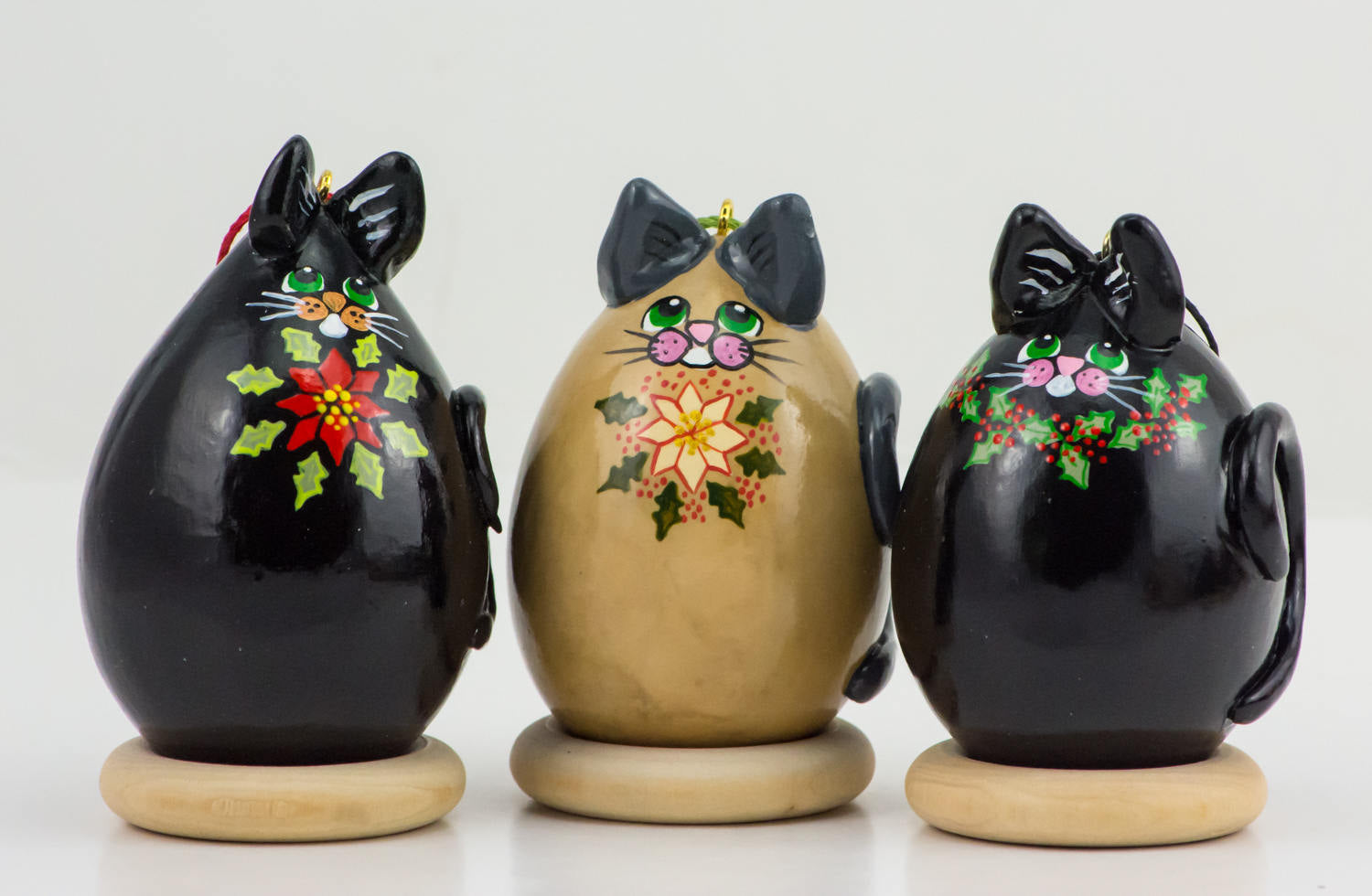 Kitty Cat Gourd Ornament Trio Holly and Poinsettia design - Cat Lover Christmas Gift