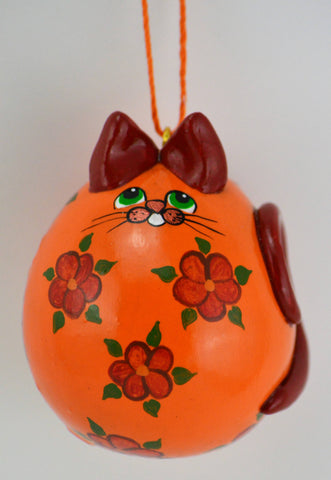 Cat Ornament - Kitty Ornament - Kitten Ornament - Calico Cat Ornament - Orange Floral Cat - Gourd Art - Gourd Ornament - Christmas Ornament