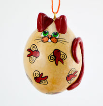 Load image into Gallery viewer, Whimsical Cat, Gourd Art, Ornament, Goldfish, , calico cat art, OOAK, Folk art cat, Holiday Ornament, Egg Gourd - Gourdaments