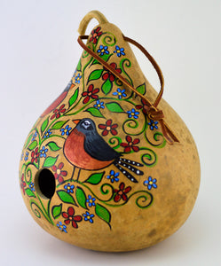 Birdhouse,  Gourd Art, Natural Garden, Garden Art, Wren House, Robin, Bird Lover, Functional Art, Folk Art, Outdoor Decoration, Yard art - Gourdaments
