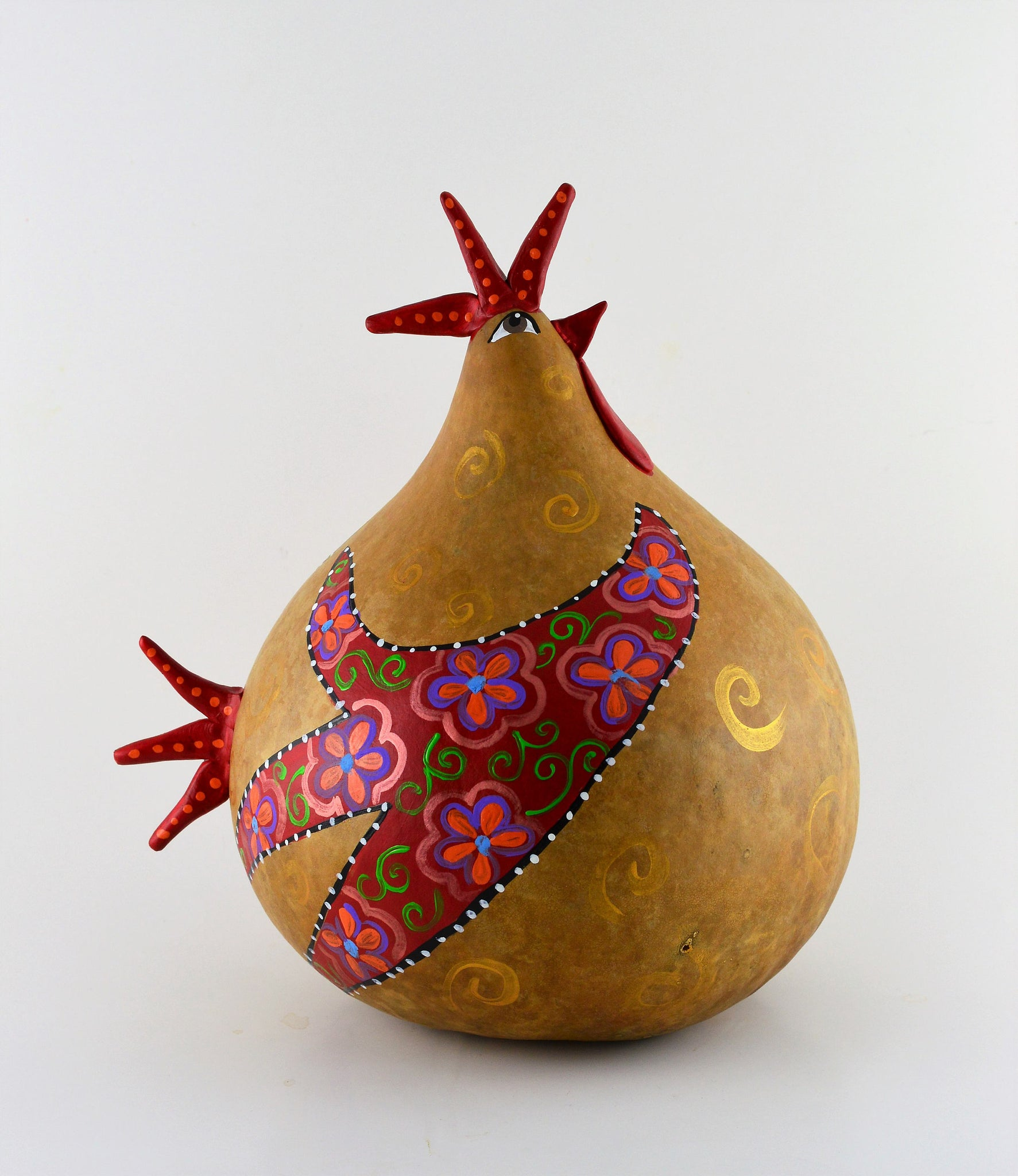 Gourd Chicken, Floral Design, Gourd Art,  Gourd Chicken, Natural Decor,  Folk Art Sculpture, OOAK, Handmade - Gourdaments