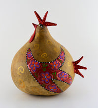 Load image into Gallery viewer, Gourd Chicken, Floral Design, Gourd Art,  Gourd Chicken, Natural Decor,  Folk Art Sculpture, OOAK, Handmade - Gourdaments