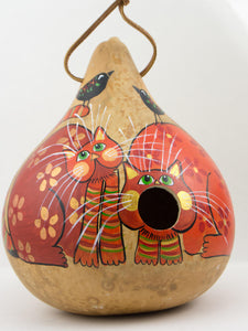 Birdhouse Gourd - Kitty Cat - Whimsical Garden Art - Cat lover Gift - Outdoor Decor - Bird Lover - Original Artwork - Gourdaments