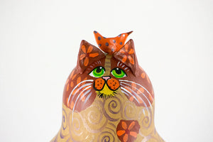 Cat Gift for her - OOAK - Gourd Art - Painted Gourd - Orange Tabby - Birds on head - Cat Gift - Gold - Orange -Purple swirls