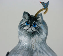Load image into Gallery viewer, Grey cat, Blue Eyes, Gourd Art, Silver highlights, Charming Smile, Original Cat Artwork, OOAK,  Cat Lover Gift - Gourdaments